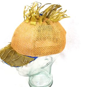 brass mesh embellished straw cap